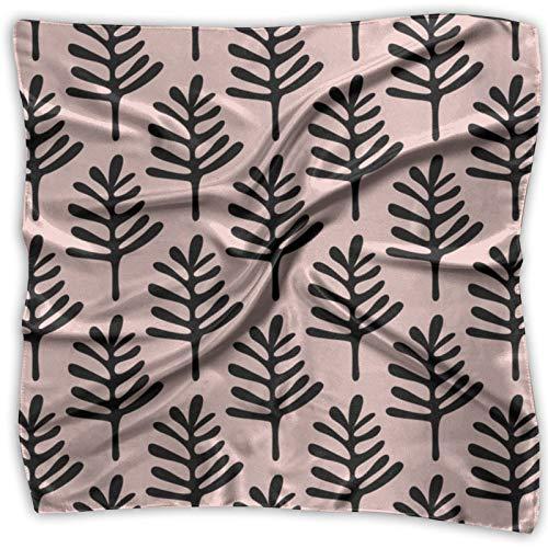 Bandanas multifuncionales unisex con hojas de jardín, color rosa melocotón, pañuelo cuadrado para diadema, envoltura, cobertura protectora de 24 x 24 pulgadas