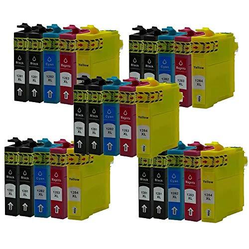 ZYL - Cartuchos de tinta compatibles con Epson T1285 Stylus S22 SX125 SX130 SX230 SX235W SX420W SX425W SX430W SX435W SX438W SX440W SX445W SX445WE Office BX305F BX305FW BX305FW Plus (25 unidades + 5 unidades), color negro