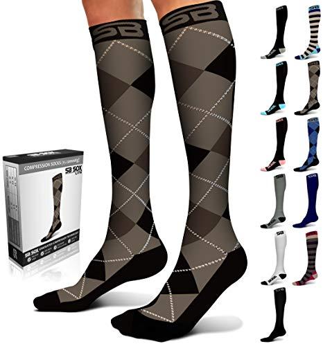 Calcetines de compresión SB Sox de 15 a 20mmHg para hombres y mujeres los mejores calcetines para correr, médicos, atletas, edemas, diabetes, varices, viajes, embarazo, S/M, Dress - Black Argyle
