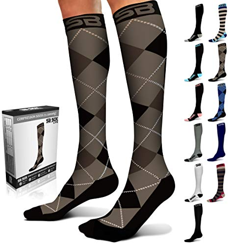 SB SOX Lite Compression Socks (15-20mmHg) for Men & Women - Best Stockings for Running, Medical, Athletic, Edema, Diabetic, Varicose Veins, Travel, Pregnancy (Dress - Black Argyle, S/M)