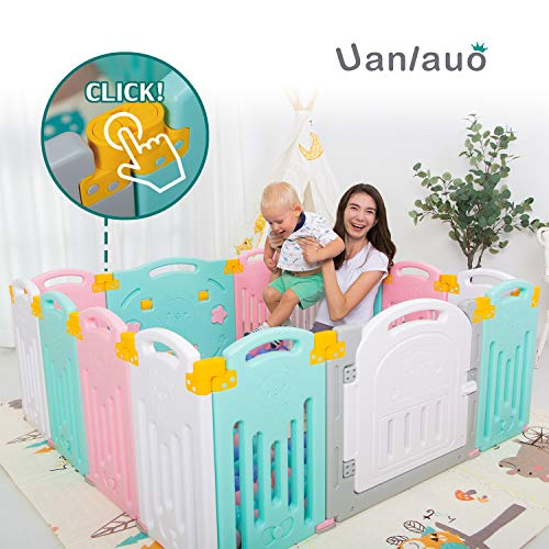 Uanlauo Foldable Baby Playpen Safety Play Yard for Toddler, Kids Activity Centre Indoor or Outdoor(14 Panel) (Multi)