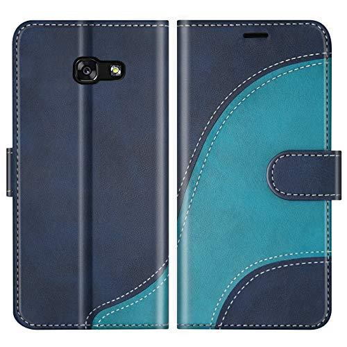 BoxTii Hülle für Galaxy A5 2017, Leder Handyhülle für Samsung Galaxy A5 2017, Ledertasche Klapphülle Schutzhülle mit Kartenfächer und Magnetverschluss, Blau
