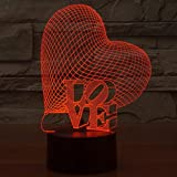 3D Love Heart Lamp Led Optical Illusion Night Light YKL WORLD Touch 7 Color Changing Desk Decor for Lover Bedroom Festival Birthday Valentine Gifts for Father Mother Daughter Son