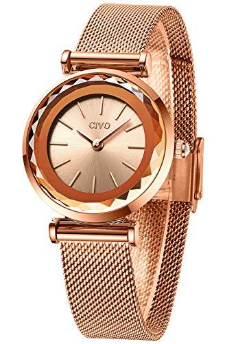 CIVO Reloj Mujer Oro Rosa Elegante Reloj Mujer Acero Inoxidable Delgado Minimalista Relojes de Pulsera Damas Niñas Impermeable Analogico Casual Cuarzo Sencillo