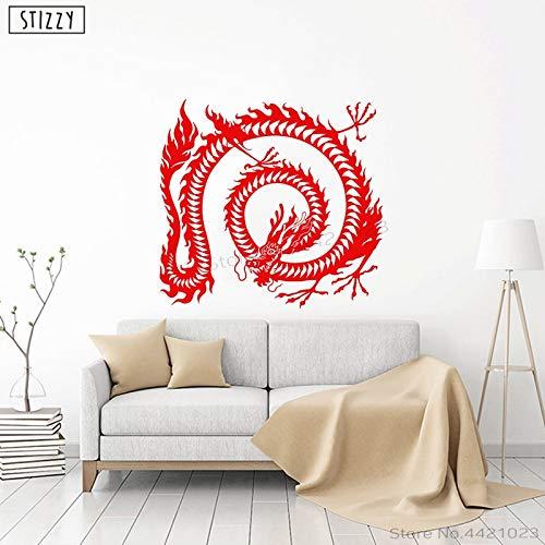 Njuxcnhg Wandtattoo Spezielle Chinesische Drachen Muster Wandaufkleber Asiatisches Symbol Poster Wohnzimmer Dekoration Interior Home Decor C31