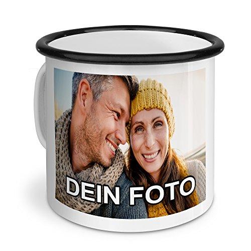 PhotoFancy – Emaille-Tasse mit Foto Bedrucken Lassen – Blechtasse Personalisieren – Nostalgie-Becher selbst gestalten (Groß [400 ml], weiß mit schwarzem Mundrand)