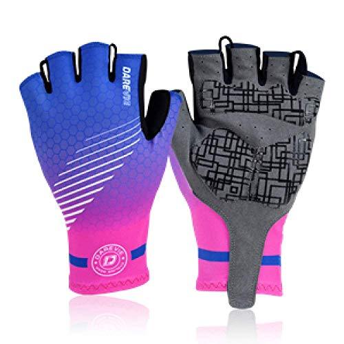 Badry Half Finger Fahrradhandschuhe Gel gepolsterte Handschuhe Radfahren Atmungsaktive Fahrradhandschuhe Stoßfest MTB Fahrradhandschuhe Roadpink XL