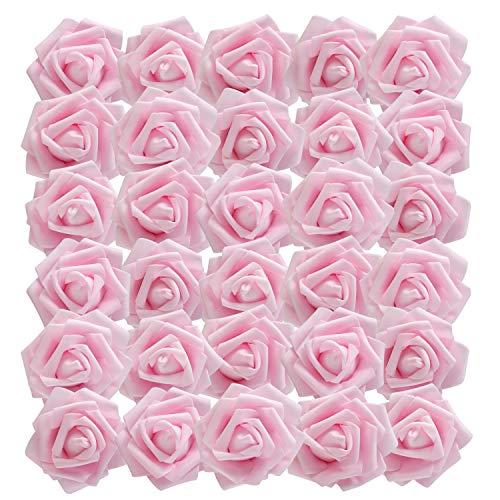 BELLE VOUS Flores Artificial (50 Pcs) - Artificiales Rosas Rosado Falsas con Vástago Ajustable 18cm para Bricolaje Ramos Boda, Decor para el Fiesta Jardín Hogar, Centros de Mesa Florales Arreglos