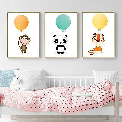 kldfig Nordic Minimalist aquarel ballon Panda AFFE tijger dier canvas schilderij kunstdruk poster afbeelding kinderkamer huis decoratie - 40x60cmx3 niet ingelijst