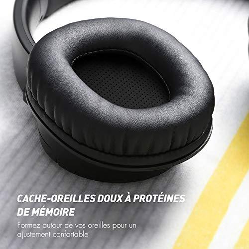 Mpow H7 Casque Bluetooth sans Fil,Casque Audio 25 Heures Musique Confortable Cache-Oreilles Portable,CVC 6.0 avec Microphone Casque sans Fil,Stéréo Hi-FI Casque Bluetooth pour Téléphone/Tablettes/PC