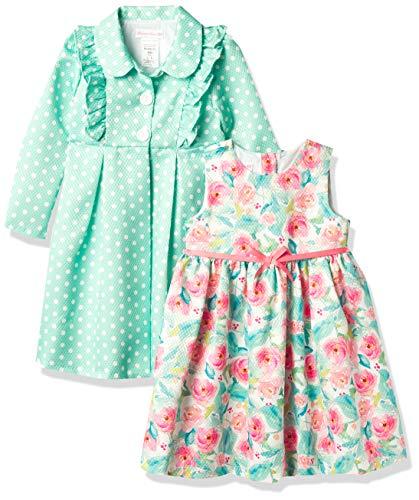 Bonnie Jean Girls' Coat and Floral Dress Set, Aqua, 4