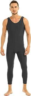 easyforever Mens Adults Scoop Neck Sleeveless Skin-Tight Solid Color Vest Unitard Bodysuit Dancewear