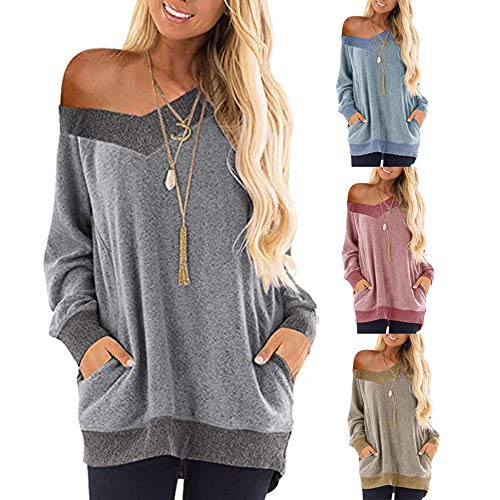 iChunhua Slouchy Tops for Women UK Soft Casual Autumn V Neck Jumpers Blue XL