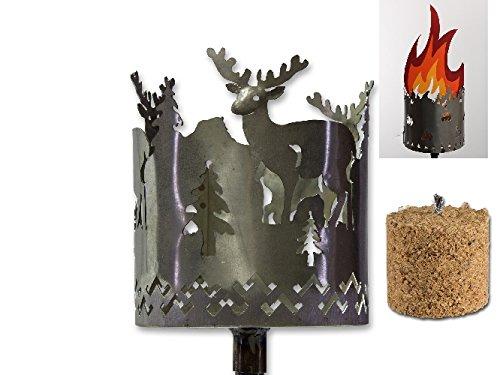 AS Metall Fackel Hirsch 128 cm Beleuchtung Windlicht Gartenstecker Rost