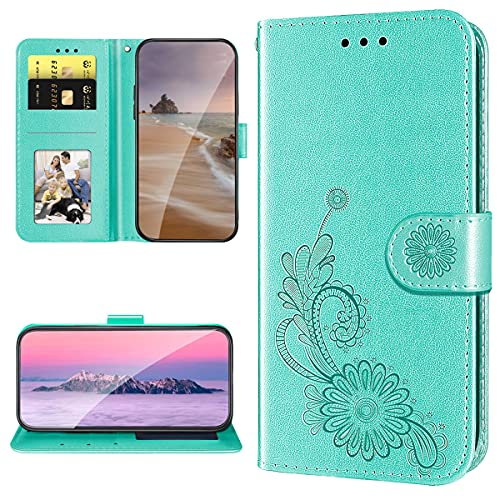 XYX Capa carteira para Motorola Z4 Play, capa de couro PU com renda em relevo para Moto Z4 Play - Verde