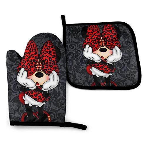 Ofenhandschuhe und Topflappen - Minnie Mouse Hitzebeständige Küche Kochofenhandschuhe und Topflappen Set-999
