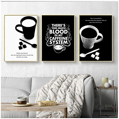Arte de pared lienzo pintura plantas negro blanco imagen impresa para sala de estar gran taza abstracta spray decoración del hogar póster 51x71cmx3 sin marco