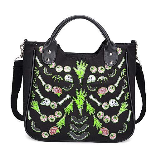 Women Fashion Rivet Handbag Purse Canvas Punk Tote with Shoulder Strap Crossbody Bag Large Capacity Black (Green)