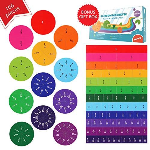 Simply magic 166 PCS Magnetic Fraction Tiles & Fraction Circles - Math Manipulatives for Elementary...