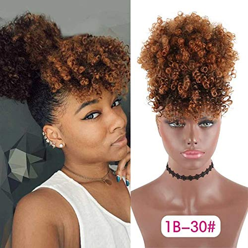 Afro Puff Drawstring Ponytail with Bangs Synthetic Short Kinky Curly Ponytail Updo Hair Extensions with Two Clips, Natural looking Donut Chignon Hairpieces (#1B/30)