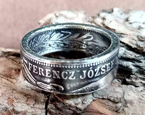 Coinring, Münzring, Ring aus sehr alter Münze (1 Krone Österreich/Ungarn von 1912-1915), 835er Silber - Double Sided coin ring - Größe wählbar, handgeschmiedetes Unikat
