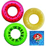 Inflatable Pool Floats 32.5' (3 Pack), Fruit Pool Tubes, Pool Toys for Swimming Pool Party Decorations