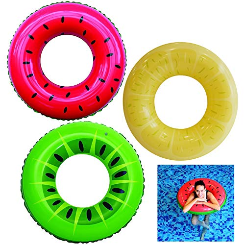"Inflatable Pool Floats 32.5"" (3 Pack), Fruit Pool Tubes, Pool Toys for Swimming Pool Party Decorations"