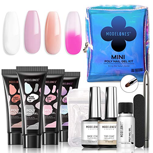 Modelones Poly Nail Gel Kit Mini French Enhancement Builder Color Changing Acrylic Extension for Travel - Including 4 Colors, Brush Pen, Slip Solution, Nail File, Dual Forms Set for Starter