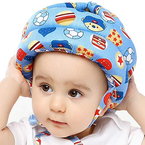 IULONEE Baby Infant Toddler Helmet No Bump Safety Head Cushion Bumper Bonnet Adjustable Protective Cap Child Safety Headguard Hat for Running Walking Crawling Safety Helmet for Kid (Blue Ball)