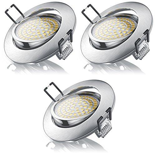Brandson - 3er Set Ultra Flach LED Deckenspot warmweiß schwenkbar - LED Einbauleuchte - LED Einbauspot Spotlight LED Deckenstrahler - Aluminium
