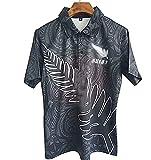 2021 Jersey de Rugby pour Hommes pour la Nouvelle-Zélande Noir Saint Knight George T-Shirt de Rugby, Sweat-Shirt à Manches Courtes Classiques Polo Black-S