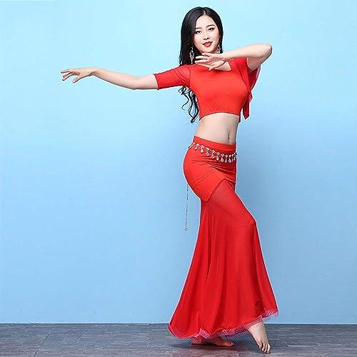 KLMWDDPWY Danse du Ventre Costume Femme Nouveau Costume de Danse de Ventre de Femmes vêteHommests Habiller Les Filles pratiquent Le Costume de Danse de Ventre et la Jupe