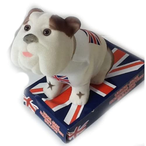 "Pms 6/"" Flock Nodding Head Bulldog W//england Flag.prtd Base W Car British"