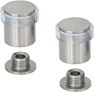 EVI Herrajes 040181TCB2UAM Pack de 2 topes de puerta (acero inoxidable), Goma Transparente, 20x27mm