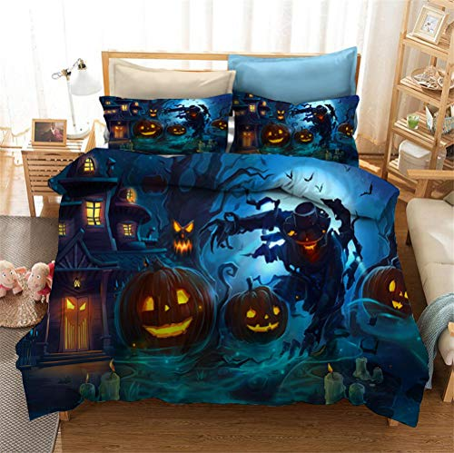 Enhome 3D Bedding Set - Printed Quilt Cover with Zipper Closure + Pillowcases, Microfiber Duvet Cover Set Easy Care for Children Teen Adult Single Double King Bed (Halloween 4,135x200cm)
