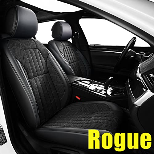 AOMSAZTO Custom Fit for Nissan 2008-2021 Rogue Faux Leather Car Seat Covers Full Set Compatible Airbag Rogue Seat Protector Comfortable and Breathable Black