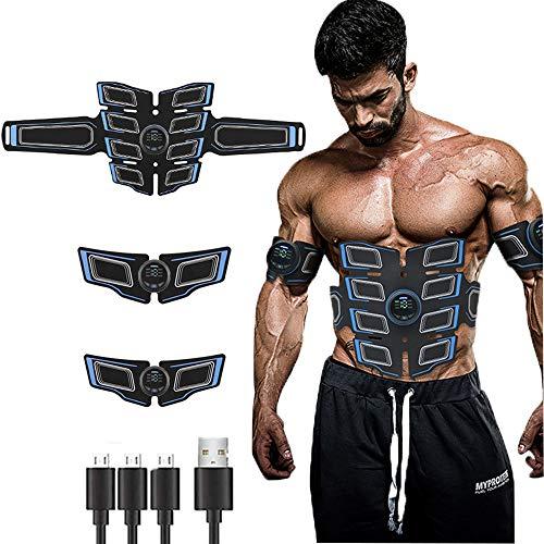 Electroestimulador Muscular Abdominales, EMS Estimulador Muscular Abdominales Cinturón, ABS Trainer Muscular USB Recargable para Bdomen Brazo Piernas Glúteos,Almohadillas de Gel 16pcs