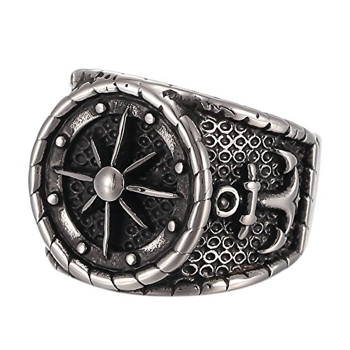 316L Men's Stainless Steel Black Silver Vintage Anchor Nautical Compass Ring (11)
