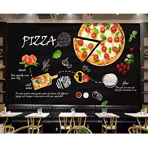 Behang Muur, Zwart Geschilderd Italiaanse Pizza Shop Western Restaurant Achtergrond Muurdecoratie Muur, 3D Behang 208 cm (B) x 146 cm (H)