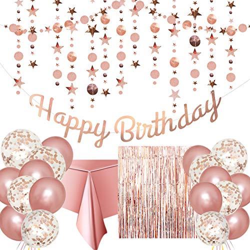 Rosegold Geburtstag Party Deko - Happy Birthday Girlande,Glitter Sterne und Kreise Girlande,Konfetti Ballons,Rosegold Latex Luftballon,Tischdecke,Glitzer Vorhang für Mädchen Geburtstagsdeko für Frauen