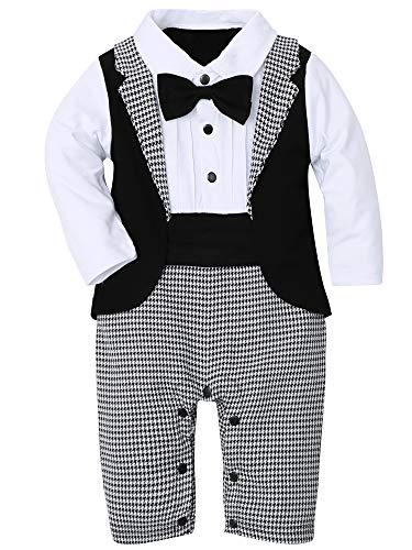 WESIDOM - Conjunto de traje para bebé (3 piezas, esmoquin de manga larga, para caballero, traje de boda, abrigo y gorro de boina, Gris, 3-6 Meses