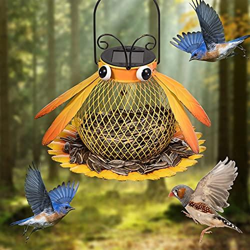 Solar Bird-Feeder for outside Hanging Outdoor,Bee Shaped Wild Bird Feeder, Solar Powered Garden Lantern Light, Garden & Patio Decoration As Gift Ideas for Bird Lovers