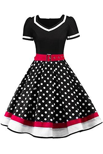 MisShow Damen elegant 50er Jahre Petticoat Kleider Gepunkte Rockabilly Kleider Cocktailkleider, Schwarz, M