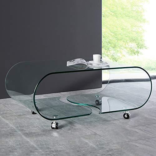 CAGÜ: Design Glascouchtisch Couchtisch [Mayfair] Glas transparent auf Rollen 90cm x 50cm