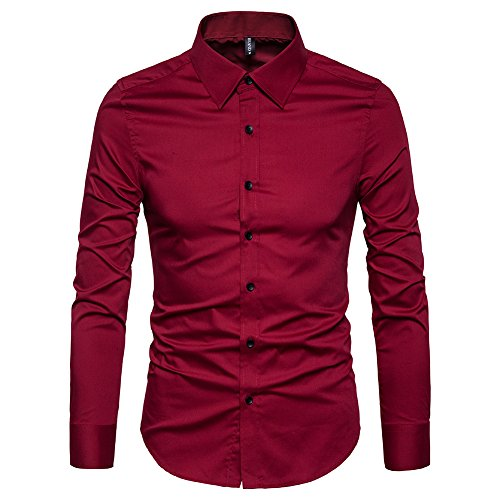 Manwan walk Men's Slim Fit Business Casual Cotton Long Sleeves Solid Button Down Dress Shirts (Small, Wine red)