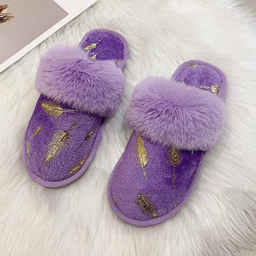 MQQM Suave AlgodóN Zapatilla Pareja Zapatos,Pantuflas frías y Calientes, Pantuflas de algodón de Fondo Plano para el hogar-Púrpura_38,Cómodo y Suave CáLido Zapatos