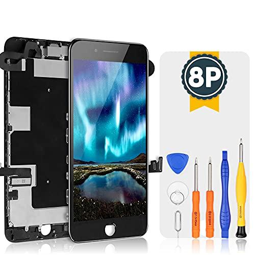 bokman LCD Pantalla para iPhone 8 Plus Reemplazo de Pantalla LCD con Cámara Frontal, Sensor Flex, Altavoz Auricular y Herramientas de Reparación(Negro)