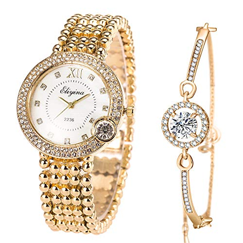 ManChDa Luxury Ladies Watch Iced Out Watch with Quartz Movement Crystal Diamond Classic Fashion Romantic + Jewelry Cuff Bracelet Set (3. Gold with White)