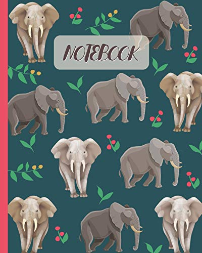Notebook: Elephants Cartoon Cover - Lined Notebook, Diary, Track, Log & Journal - Cute Gift for Kids, Teens, Men, Women (8'x10' 120 Pages)