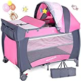 Travel Cot Baby Crib Girls Portable Infant Baby Bed Play Centre Child Bassinet Playpen Entryway with Wheels&Brake, Safety Belt,Bag & Net, Nursery Center for Boys and Girls,Pink